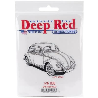 VW BUG - Cling Mounted Rubber Stamp - Deep Red