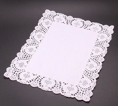 """10 LARGE 12""""x16"""" PAPER LACE WHITE DOILIES RECTANGLE RECTANGULAR TABLE CAKE PARTY"""