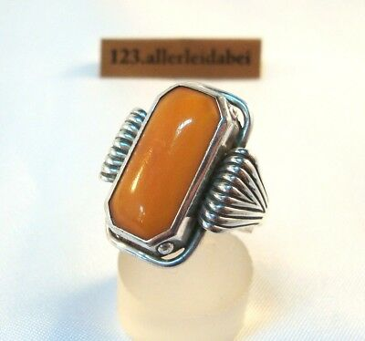 Toller alter Butterscotch Bernstein Ring 835 Silber D.R.P. Modernist / BC 042