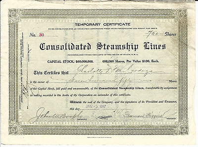 1907 MAINE Consolidated Steamship Lines Temporary Stock Certificate #30