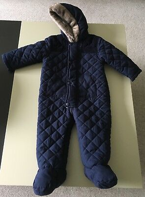 LL Bean snowsuit, girls size months. I keep going back to beans for my kiddos snow gear, they are tough and keep my kids warm. The jacket was worn more than the snow pants but everything is in great shape. One small stain on the jacket (pictured). These feature grow cuffs which have NOT been extended. Look on LL Beans website for more information!