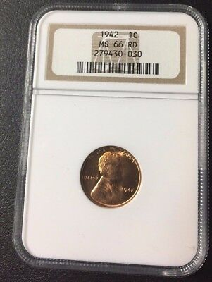 1942 P LINCOLN WHEAT PENNY 1c CENT NGC MS 66 RED