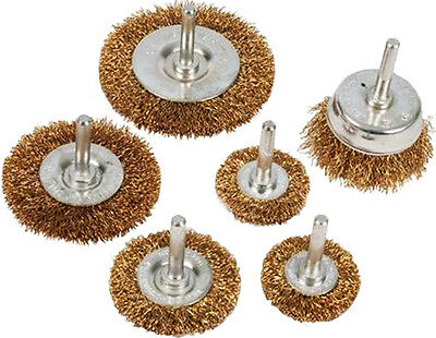 6 Piece Rotary Wire Wheel & Cup Brush Drill Set 6mm for Rust Paint Remover U325