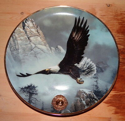 Franklin Mint Save The Eagle limited edition collectible plate + free hanger