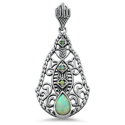 Victorian White Lab Created Opal .925 Sterling Silver Filigree Pendant,     #336