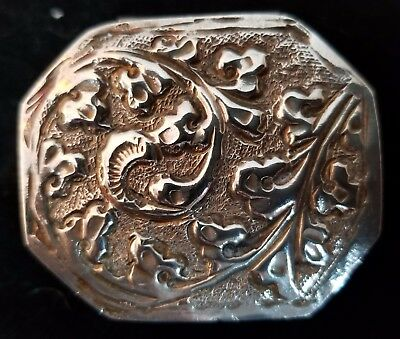 Silver Trinket Pill Box Vintage Scroll Leaf Design