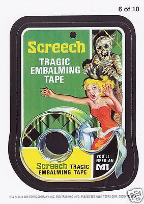 Wacky Packages All New Series (ANS) 8 - SCREECH EMBALMING TAPE MAGNET #6 of 10