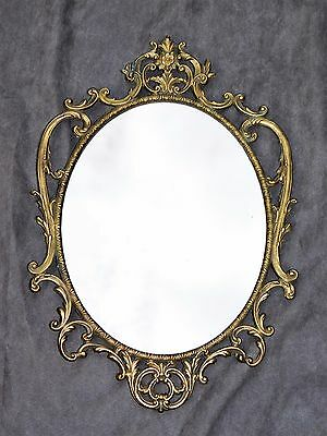 Grand Miroir En Metal Dore Sculpte   29.5Cmx43Cm Deco Chic Kitch Baroque Shabby