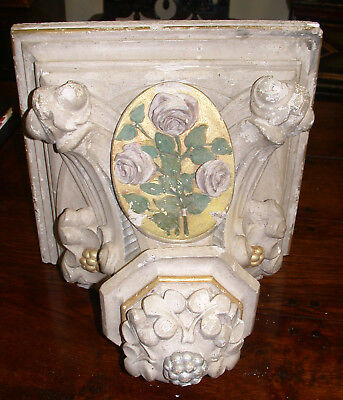 Antique French Large Plaster Corbel, Original Paint & Gilding, Ca 1860