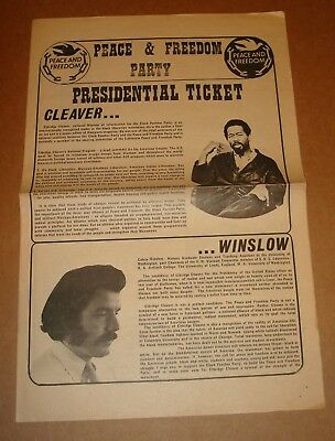 1968 Peace & Freedom Party Original Campaign Presidential Ticket Black Panthers