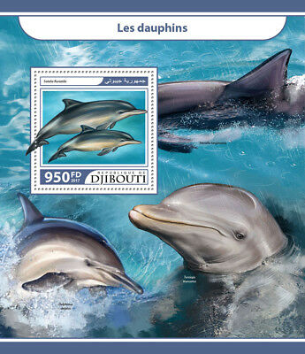 Djibouti 2017 MNH Dolphins 1v S/S Tucuxi Marine Animals Stamps
