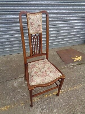 A Single Edwardian Wooden Walnut and Boxwood Strung Bedroom Chair Upholstered