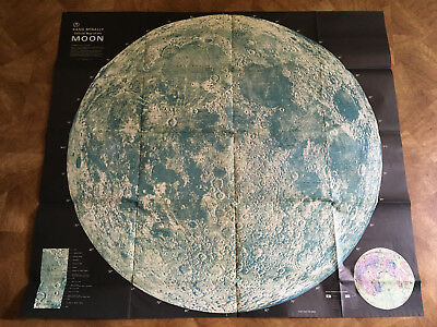 Vintage RAND McNALLY Map of the Moon index lunar features - NASA & Moscow photos