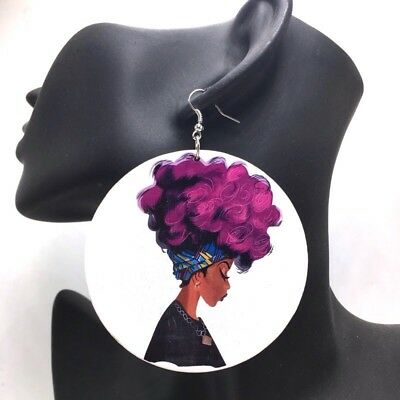 African Wooden Earrings Woman head wrap Afro ethnic tribal double printed