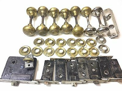 Victorian Brass Door Knobs 7 Sets & Matching Sargent Mortise Latches + Lock