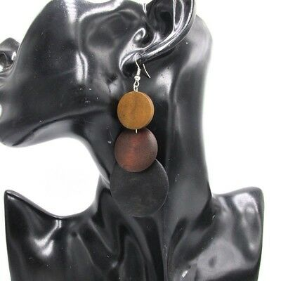 African Wooden Earrings Woman ethnic tribal drop mixed colours