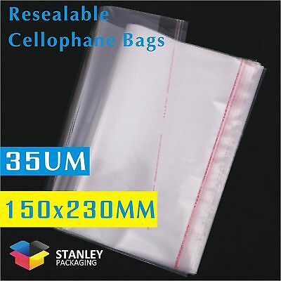 100x Polypropylene Bag 35UM 150x230mm Cellophane Clear Plastic Bag +30Lip Cello