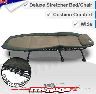 DELUXE Wide Folding Camping Bed Stretcher Strong Foldable Camp Portable Carry
