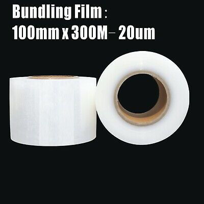 2x Bundling Film 100mm x 300m 20um Clear Stretch Wrap Pallet Wrapping+ Dispenser