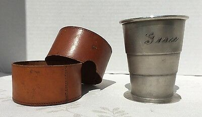 Antique Silver Plate Collapsible Cup with Original Leather Holder