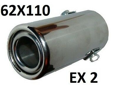 Big Exhaust Pipe Chrome Trim Tip extention Universal Fit 62mm x 110mm tail EX2