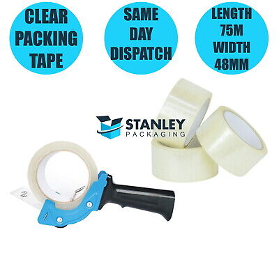 1x Low Noise Packing Tape Dispenser Gun + 6x Rolls Clear Packing Tapes