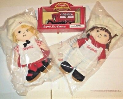 Campbell's advertising soup kids stuffed dolls doll chefs die cast truck