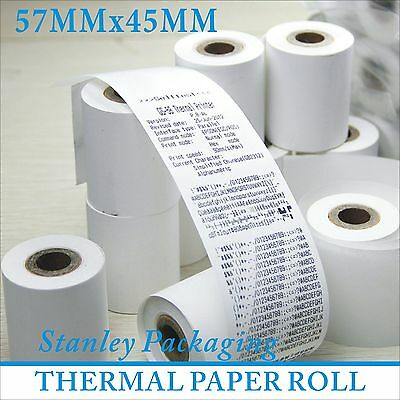 50 ROLLS 57x45mm x 12mm THERMAL EFTPOS RECEIPT CASH TILL REGISTER ROLLS 57mm
