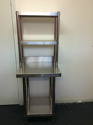 New Stainless Steel Bench with Splash back and Over-shelving 90x60x90x30x78 cm