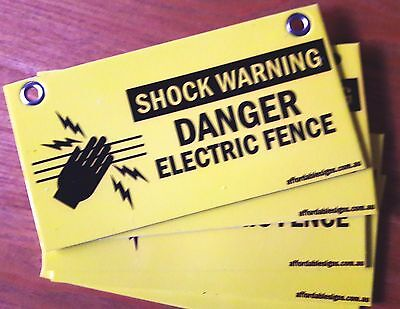 BULK PACK 10x ELECTRIC FENCE SAFETY WARNING SIGNS CAUTION FOR FARM ENERGISER