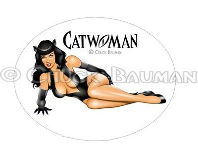 Sexy Bomber Girl CATWOMAN Bettie Page bar decor pin-up girl sticker decal