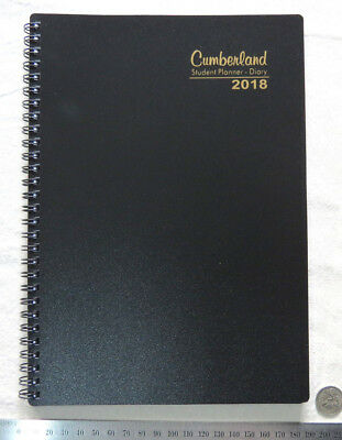 2018 Cumberland B5 Student Planner Diary Spiral Poly Flex Cover BLACK