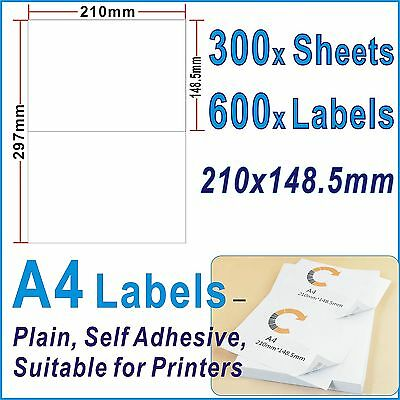 100 x Sheets 200 Labels 210x148.5mm A4 Office Mailing label 2 Labels per Page