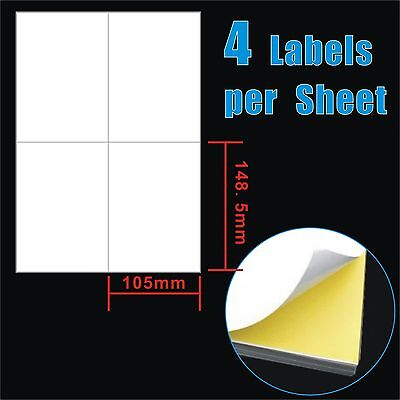 100 Sheets 10.5x14.8cm 4 Labels Per Page 4 up A4 Shipping Label Laser Inkjet