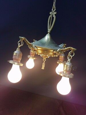 HEMCO Vtg Antique Brass Pan Light 4 Ceiling Fixture Chandelier  Needs RE-WIRED