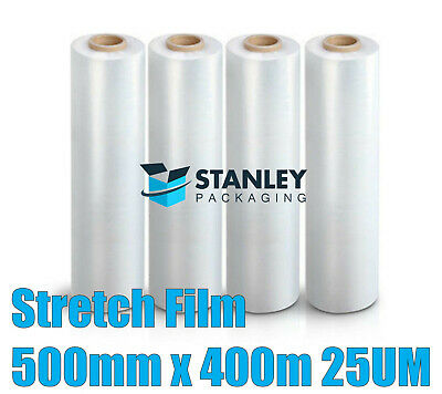 4x Rolls 500mm x 450m Clear Hand Stretch Film Pallet Cast Wrap Pallet Film