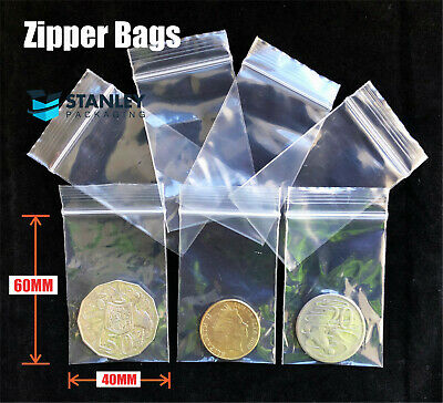 100 Small 40x60mm 4x6cm Ziplock Zip Lock Resealable Plastic Bags Jewellery Coin