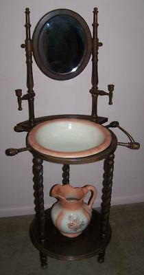 Antique Wooden Wash Stand, Mirror, Candle Holder, Pitcher, Basin, Pickup Only