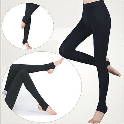 Women`s Black Grey STIRRUP LEGGINGS Soft Mega-Comfy Stretch Pants S-XXL