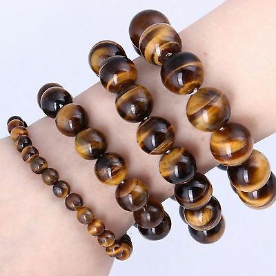 Natural Tiger Eye Stone Lucky bless Beads Bracelet Bangle New Men Woman Jewelry