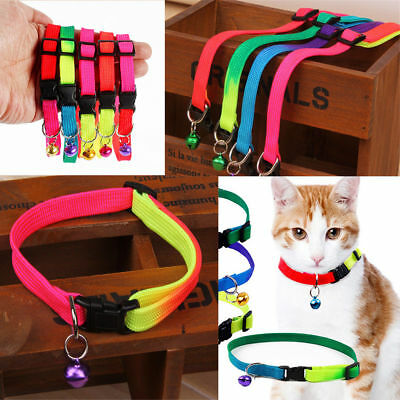 5Pcs Colorful Adjustable Pet  Dog Cat Collar Buckle Necklace With Bell Safety
