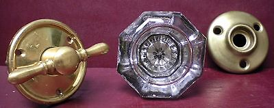 Antique Silvered Centered Glass & Brass Doorknob & Finger Turn W/rosettes