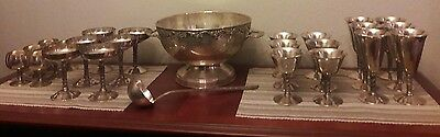Rare Venecia Spain Silverplate Punch Bowl Ladle Goblet Sherry Flute Snifters Set