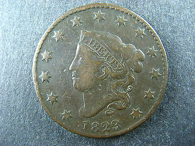 1 cent 1823/2 US copper coin 1c 1¢ USA large one penny Coronet Head 3 over 2
