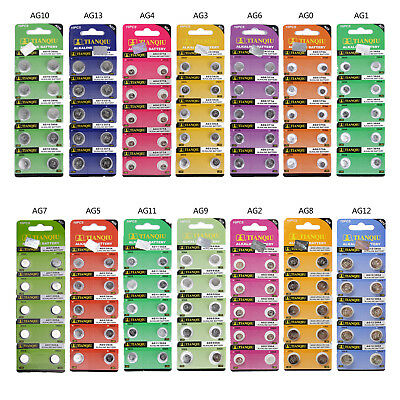 Lots of 20PCS Alkaline Watch Batteries Button Cell AG0, AG1, AG2, AG3, AG4 ~AG13