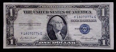 $1 Silver Certificate Note (SERIES 1935E BLUE) UNITED STATES - Y 18070774 G