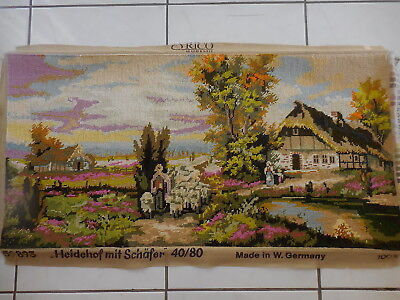 Tapestry  Completed Orico Gobelin 59893 Heidehof Mit Schafer W. Germany