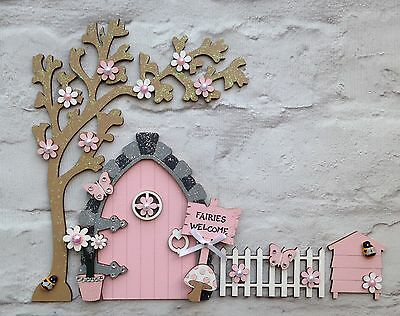 New! Fairy Door With Tree, Fence And Beehive