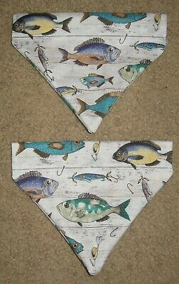Fish Fishing Dog Bandana - 2 designs - 5 sizes XS - XL