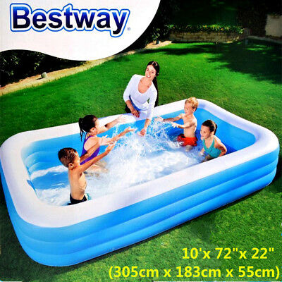 Bestway Inflatable Kids Family Swimming Pool Rectangular 305cm #54009 Free Pump
